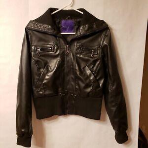 Miley Cyrus Max Azria Junior Girls Women's Black Faux Leather Jacket Sz XL
