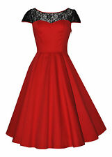 Ladies 40s 50's Vintage Red Black Lace Insert Party Cocktail Evening Dress New