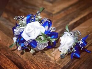 White Royal Blue Corsage and boutonniere set Prom Wedding Formal Artificial
