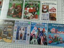 Leisure Arts Plastic Canvas Christmas Projects Books Lot of 7 + Eyeglass Case +