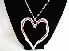 Large  abstract silver chunky statement necklace heart tribal pendant