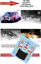 Decals PROMO  1/43 réf TK 1063 Alfa GTV  Ballestrieri 1 Elba Rally 1975