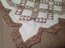 """Vtg Handmade 100 X 88"""" Scalloped Edge Floral Patchwork Quilt Victorian Country"""