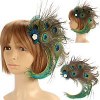 Lady 1920s Headpiece Peacock Feather Hair Clip Bridal Wedding Party Headpiece