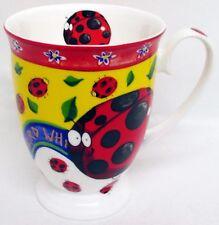 Ladybird Mug Fine Bone China Royal Footed Happy Ladybirds Cup Hand Decorated UK