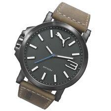 Puma Uhr Time Ultrasize 50 Quarz Leder gun color moderne Herrenuhr PU103461017
