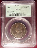 Rare 1787 Connecticut Half Penny PCGS VG10 Green Label!