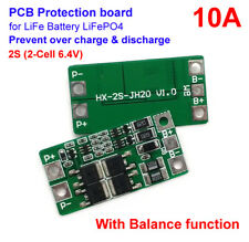2S 10A 6.4V w/Balance LiFePo4 Cell 18650 Battery Protection Bms Pcb Board 3.2V*2