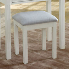 White dressing table stool bedroom furniture cushioned upholstered seating decor