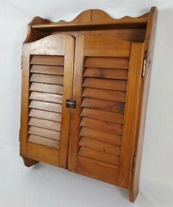 Vintage Storage Spice Cabinet Wall Mount Shutter Doors Farmhouse Primitive