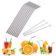 8pc Stainless Steel Metal Drinking Reusable Straw + 3X Cleaner Brush Kit Durable