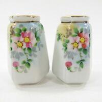 Vintage Nippon Hand Painted Salt Pepper Shakers Set Japan Hexagonal Floral *P5