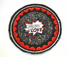 DRUNK IN LOVE SPARKLY STONES Embroidered Sew Iron On Cloth Patch Badge APPLIQUE
