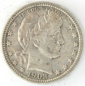 1903 O Barber Quarter Dollar US 25 Cent 90% Silver Coin New Orleans Full Bands