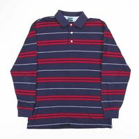 Vintage TOMMY HILFIGER Blue Striped Long Sleeve Polo T-Shirt Mens Size Large