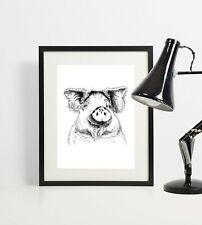 Pig print, pig wall art, artist pig drawing.