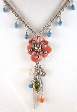 £40 Silver Red Green Blue Flower Pendant Necklace Swarovski Elements Crystal