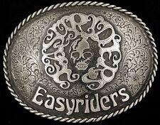 Rare Vtg Easyriders Skull PAISANO David Mann Biker Western Belt Buckle