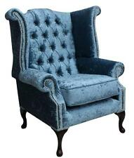 Chesterfield Queen Anne High Back Fireside Wing Chair Shimmer Aqua Blue Velvet S