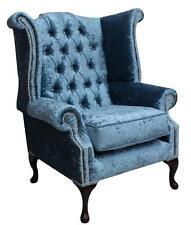 Chesterfield Queen Anne High Back Fireside Wing Chair Shimmer Aqua Blue Velvet S