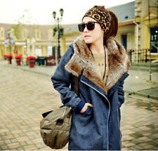 S51 Retro Womens new Warm Fur lining+Denim Thick Loose Padded jacket Hooded coat