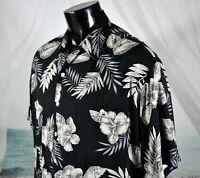 TORI RICHARD Hawaiian Button SHIRT Sz XL 100% VISCOSE Black Floral Hibiscus Palm