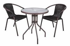 2 chaises Bistro MOKA empilable + table ronde verre