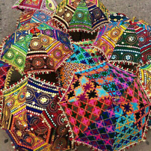 3 Pc Lot Decorative Indian Umbrella Hand Embroidered Vintage Sun Shade Parasol