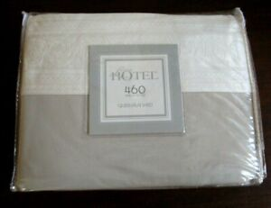 Luxury Hotel Collection Queen Flat Sheet 460 TC Egypitan Cotton, Taupe & Cream
