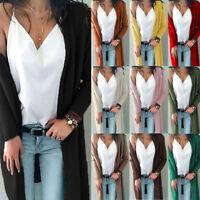 Women Pockets Knitted Sweater Long Cardigan Knitwear Jumper Outwear Coat Jacket