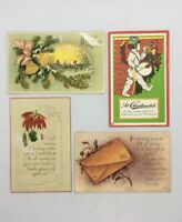 Lot Of 4 Antique Christmas Post Cards Early 1900's. Random Mix / Used AS IS