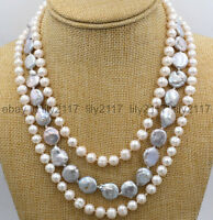 """AA 3Rows Silver-gray 7-8mm freshwater pearl + 11-12mm coin pearl necklace 17-20"""""""