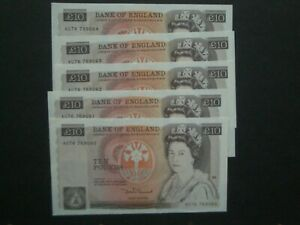 **Decent GB £10 'GVF'++  'AU' 1984 Somerset  Banknote**5 Consecutive available**