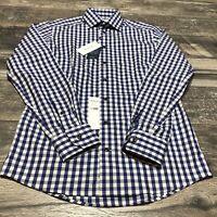Eton Of Sweden Contemporary Blue Plaid Button Up Slim Dress Shirt Size 38/15 NWT