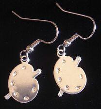 Artist Painter's Pallet Earrings Sterling Silver Plate