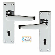 CARLISLE BRASS M30CP Polished Chrome Victorian Lever Lock Door Handle on B/Plate