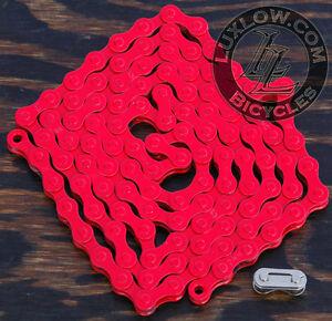 "Bright Red Fixie KMC Bicycle Chain 1 Speed 1/2x1/8"" 112 Schwinn Cruiser Bike BMX"