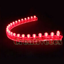 2x PVC 24CM 24LEDs Car 12V Waterproof Flexible LED Neon Strip Grille Light Red