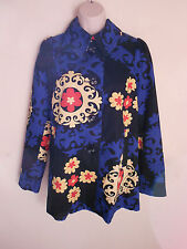 ~Super Cute BICA CHEIA Floral Scroll Print A-Line Swing Jacket Blue Cream Red ~4