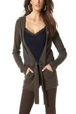 New Vivien Caron Warm Wool Knitted Hooded Drawstring Cardigan Jumper Sweater