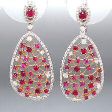 Ohrhänger 18K Weiß- & Rotgold - Diamanten 1,34 ct + Pinke Ceylon-Saphire 2,25 ct