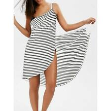 Women Stripe Sling Backless Swimwear Scarf Beach Cover Up Wrap Sarong Maxi Dress