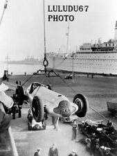 PHOTOGRAPHIE   PAQUEBOT NORMANDIE SHIP LINER  USA  DEPART CHARGE MERCEDES 125
