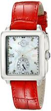 Gevril GV2 9201 Bari Women's Swiss Made 16 Diamonds Watch Red Leather $2000 NEW