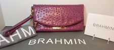 Brahmin NWT Duxbury Clutch Removable Wristlet Fig Normandy Ostrich Embossed