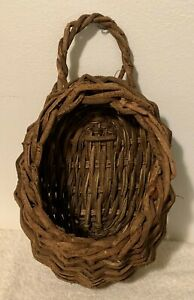 Vintage Brown Wicker Rattan Teardrop Hanging Wall Basket w Handle