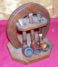 Old Pipe Stand w/ 3 Pipes WM Wales Mastercraft Tobacco Smoking Holder Vintage