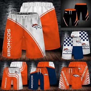 Denver Broncos Men Casual Beach Board Shorts Quick Dry Swim Trunks Bathing Suits