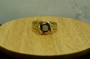 14K YELLOW GOLD NUGGET DESIGN RING BAND WITH A CZ CENTER SIZE 10 #D2919