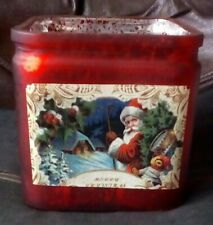 Red & silvered 12 cm's square glass candle holder/vase with Christmas scene.
